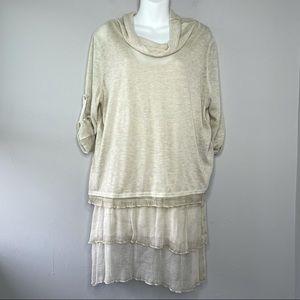 FANTAZIA Cream 2-Piece Cowl Gauze Skirt Top XL